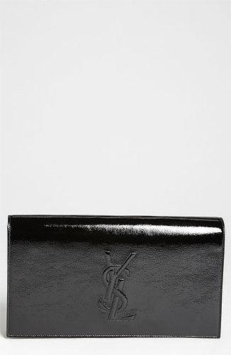 Saint Laurent 'Belle de Jour' Patent Leather Clutch Black