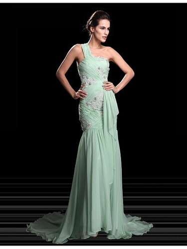 Green One Shoulder Applique Princess Prom Formal Dress PD0024