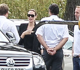 Angelina Jolie prepared to board a helicopter in London.