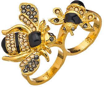 Shameless Jewelry Gold Enamel Bumblebee Double Ring