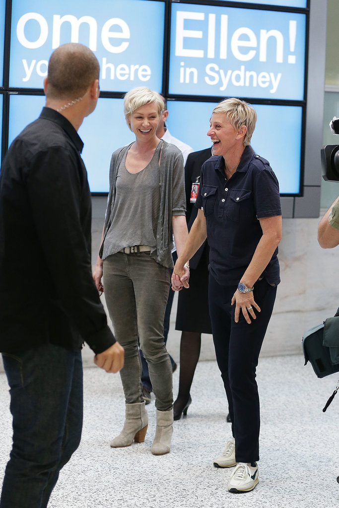 Portia de Rossi and Ellen DeGeneres shared a laugh in the Sydney Airport in March 2013.