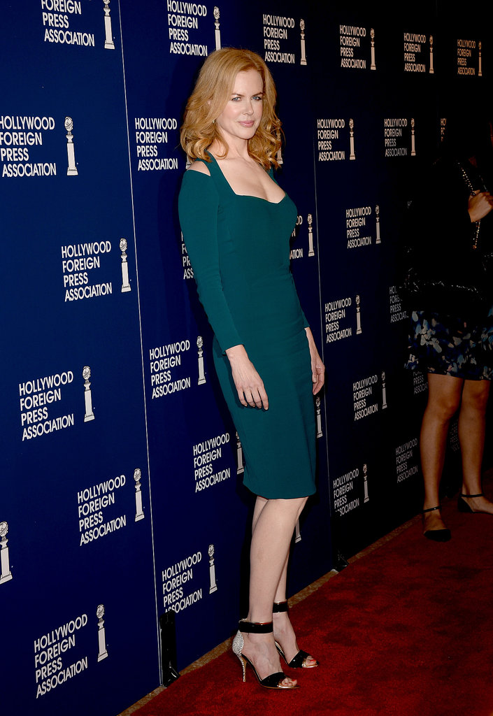 Nicole Kidman hit the red carpet in a tight green dress.