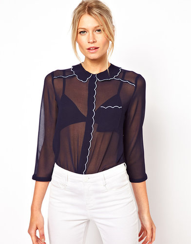 ASOS Blouse With Contrast Scalloped Embroidery