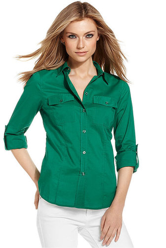 MICHAEL Michael Kors Shirt, Long-Sleeve Camp