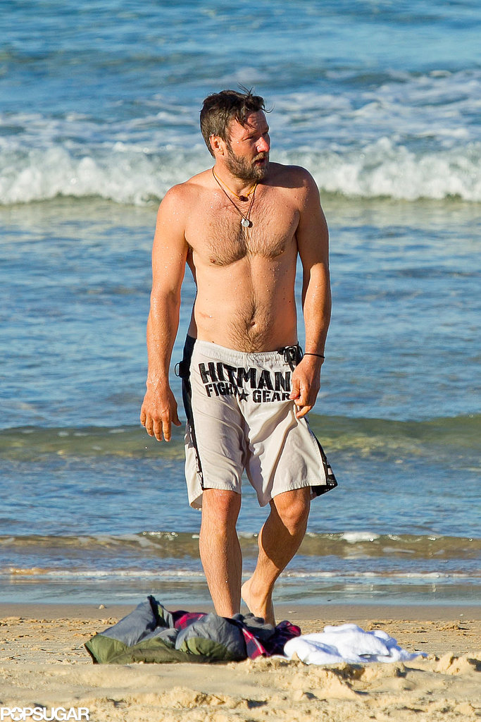 In August, a shirtless Joel Edgerton hit up Bondi Beach in Sydney.