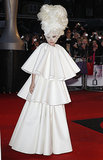Gaga was a vision in white in the tiered gown by Francesco Scognamiglio that she wore to the Brit Awards in 2010.
