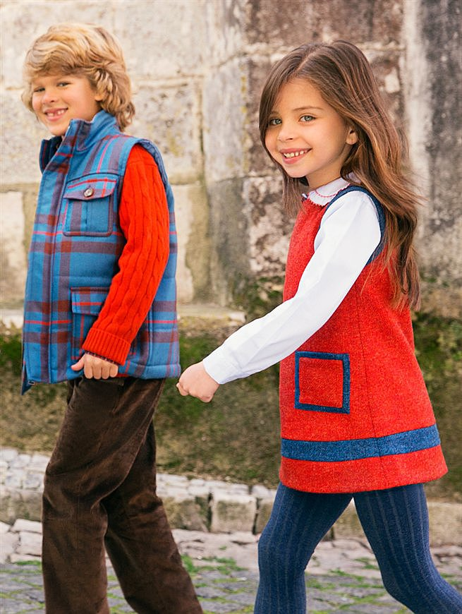 Look 10 — Little Girls' A-Line Contrast Dress, Boys' Quilted Vest, and Cashmere Crew Neck ($75-$325)