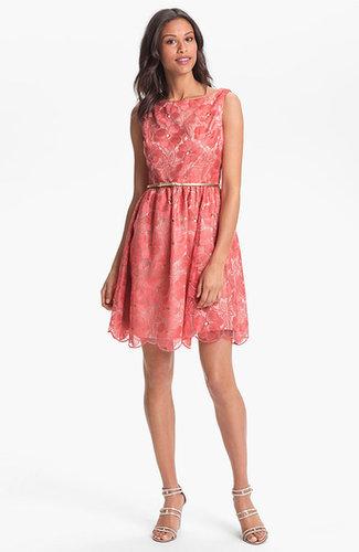 Eliza J Embroidered Fit & Flare Dress