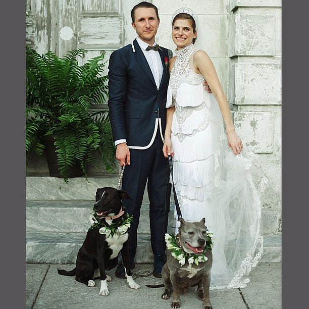Not only did Lake Bell and husband Scott Campbell look great at their wedding, but these wreathed guests also made a handsome pair. Source: Instagram user marchesafashion