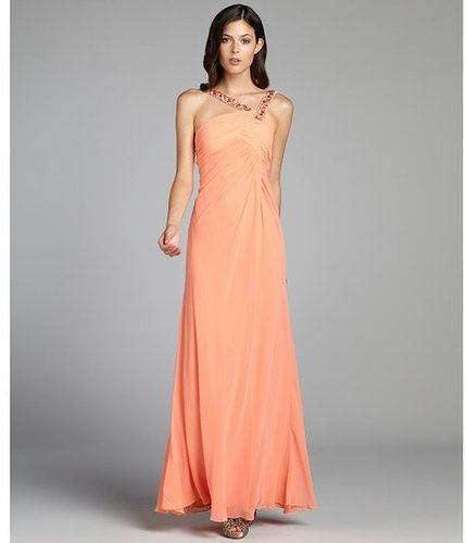 LM Collection peach crystal embellished flared chiffon gown