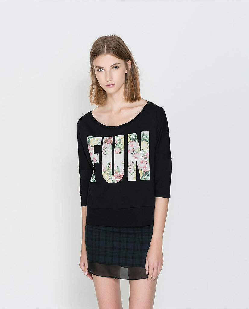 It goes without saying that this Zara floral text t-shirt ($20) is fun — but