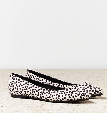 We like to think of these American Eagle Outfitters animal-print pointed-toe shoes ($30, originally $35) as flats with personality.