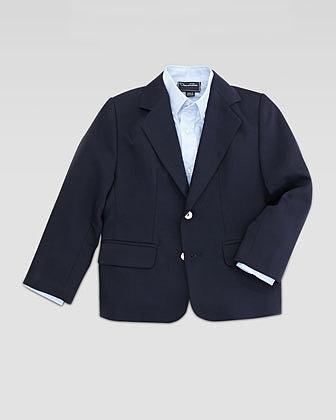 Oscar de la Renta Boys' Two-Button Blazer, Navy, Sizes 4Y-10Y