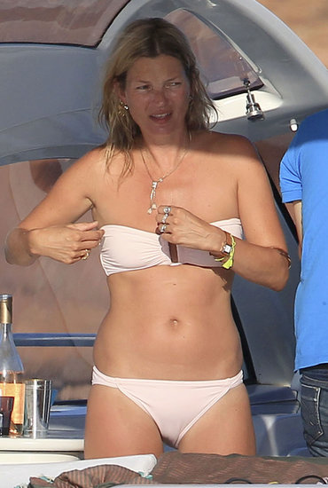Kate Moss wore a pink bikini in Spain.