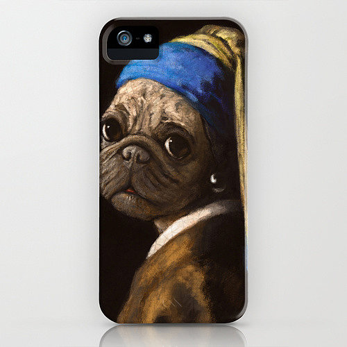"Why hello, pug, how did you end up in this iconic Vermeer painting? Who knew that all we ever wanted in life was a pug to recreate the ""Girl With a Pearl Earring"" portrait in smartphone case form ($35)?"