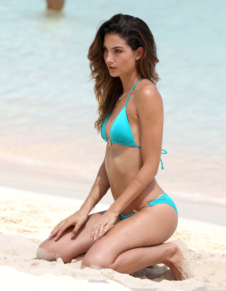 Lily Aldridge struck a pose in St. Barts in August.
