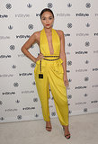 Ashley Madekwe showed skin in a risqué yellow jumpsuit.