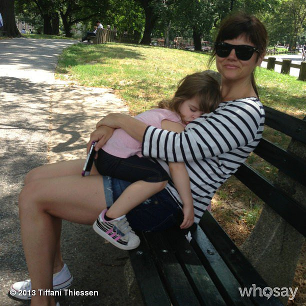 Tiffani Thiessen had one knocked-out tot on her hands after a family bike ride in Central Park.  Source: Instagram user tathiessen