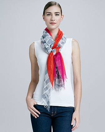Kate Spade New York Bow-Print Center-Striped Scarf, Gray/Pink/Red