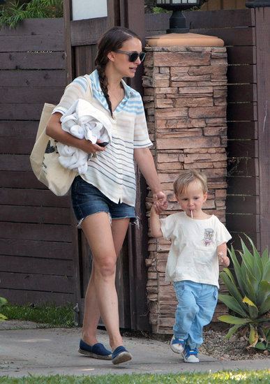 Natalie Portman held hands with her son, Aleph, while out in LA on Thursday.