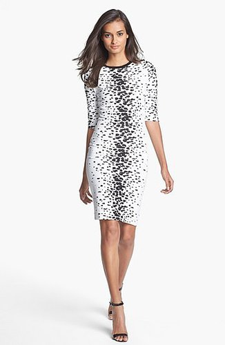 French Connection 'Bark' Print Jersey Pencil Dress
