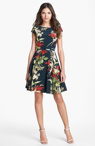 Ted Baker London 'Fortys Bloom' Print Silk A-line Dress