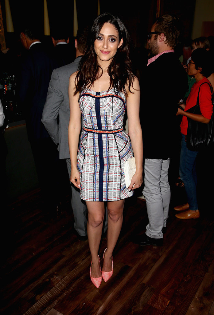 Emmy Rossum accented her Rebecca Minkoff mini with pastel pumps at Delta's Summer party.