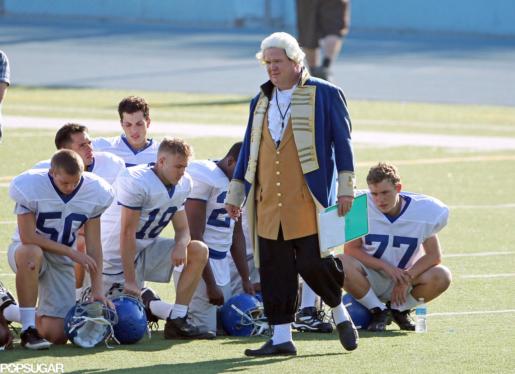 Eric Stonestreet sported a George Washington costume to coach the high school football team on the LA set of Modern Family on Thursday.