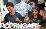 Ariel Winter had a laugh with a male companion during a break from filming Modern Family in LA.