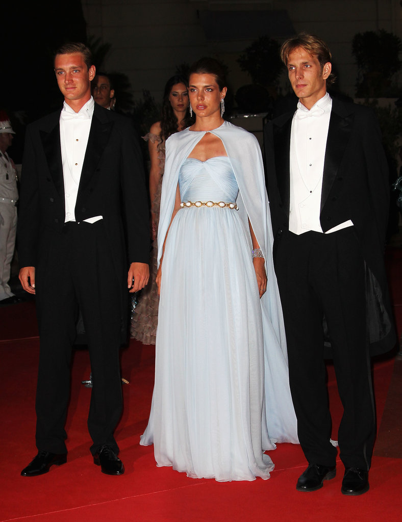 Andrea, his brother, Pierre, and sister, Charlotte, dressed up for the official dinner and fireworks for Albert and Charlene's wedding.