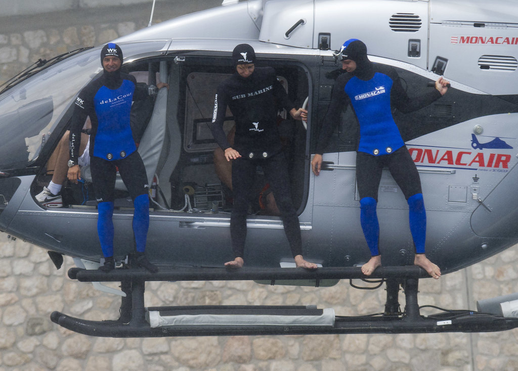 Andrea and his brother, Pierre, got ready to jump from a helicopter off the coast of Monaco.