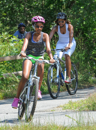 Sasha Obama led the pack during a family bike ride.