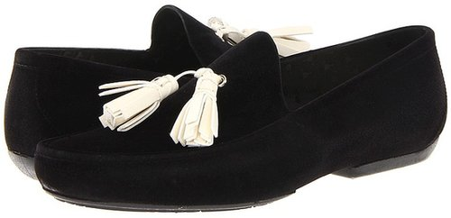 Vivienne Westwood - Plastic Flocked Tassel Mocassin (Oyster White/Black) - Footwear