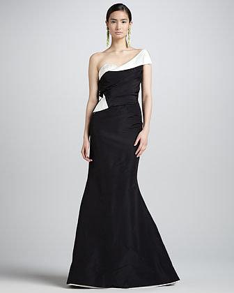 Oscar de la Renta One-Shoulder Two-Tone Gown, Black