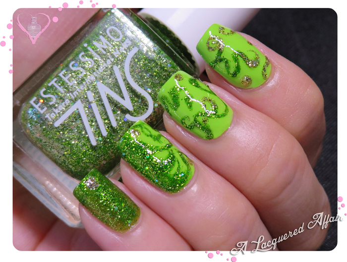 Peridot and Spiral Vines Inspired mani