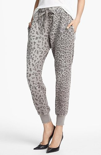 Current/Elliott Animal Print Sweatpants Womens Grey Leopard Size 0 0