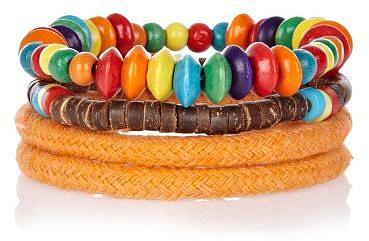 Orange rope and bead bracelet pack