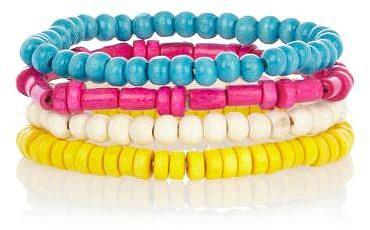 Multicoloured neon bead bracelet pack
