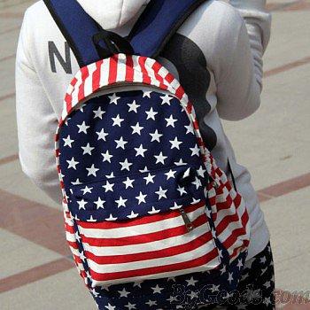 Unique American Flag Print Canvas Backpack
