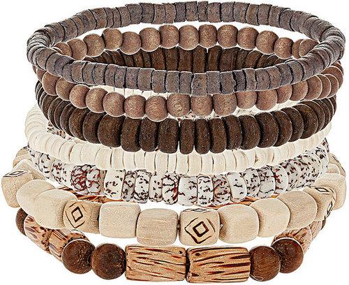 Brown Tonal Multi-Row Bead Bracelet Pack