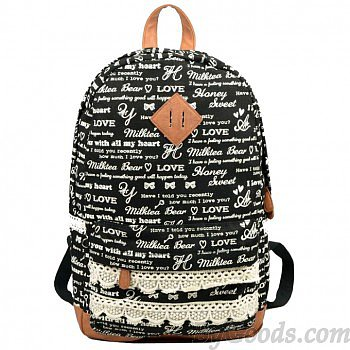 Cute Letters Trunks Lace Canvas Backpack