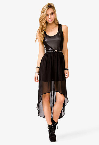 FOREVER 21 Faux Leather Chiffon High-Low Dress