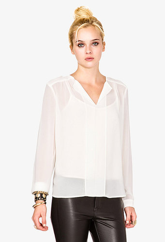 FOREVER 21 Shirred Georgette Blouse