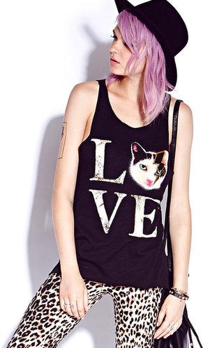 FOREVER 21 Kitty Love Tank