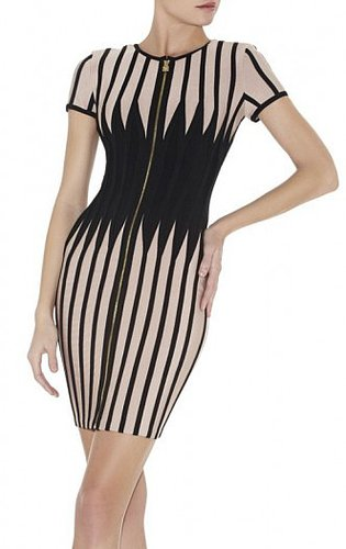2013 HERVE LEGER MADISON JAGGED COLORBLOCKED DRESS