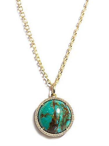 Irene Neuwirth Diamond, Turquoise & gold pendant necklace
