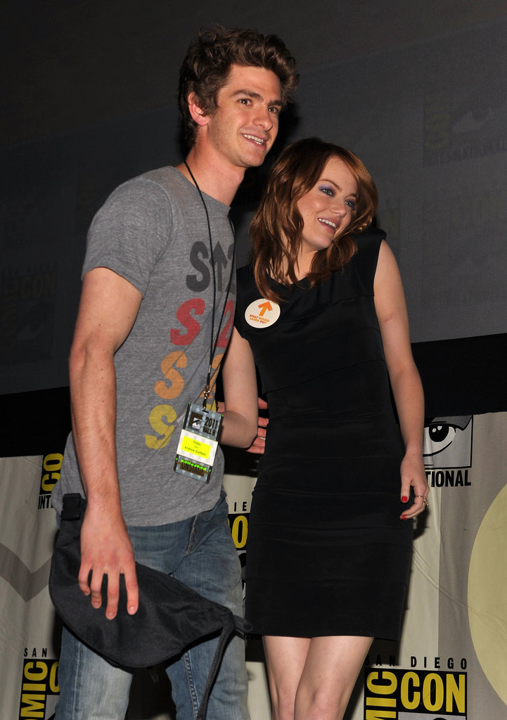 Andrew Garfield and Emma Stone cozied up to one another at The Amazing Spider-Man Comic-Con panel in July 2011.