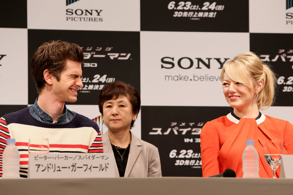 Emma and Andrew shared a laugh in Tokyo during their June 2012 The Amazing Spider-Man press conference.