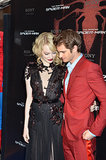 Emma Stone held Andrew Garfield close during their Paris premiere of The Amazing Spider-Man in June 2012.