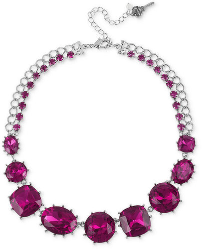 Betsey Johnson Necklace, Antique Silver-Tone Fuchsia Crystal Frontal Necklace